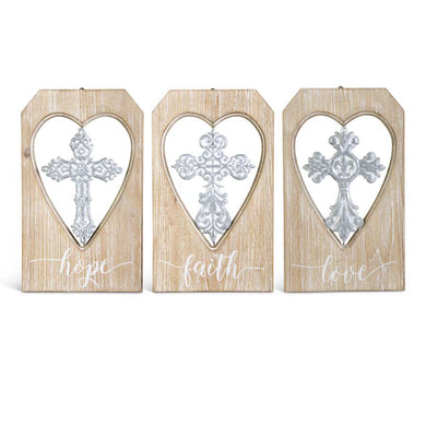 Wood & Metal Cross Sign