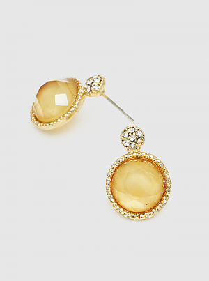 Yellow Crystal Pave Faceted Round Bead Post Stud Earrings