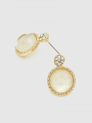 Ivory Crystal Pave Faceted Round Bead Post Stud Earrings