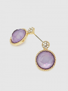 Purple Crystal Pave Faceted Round Bead Post Stud Earrings