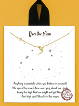 Load image into Gallery viewer, 18k Gold Dipped Cz Cubic Zirconia Celestial Star Over The Moon Delicate Necklace