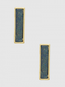 Semiprecious Navy Rectangle Natural Stone Post Stud Earrings