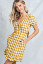Load image into Gallery viewer, Yellow Check Pattern Wrap Dress w Tie Back