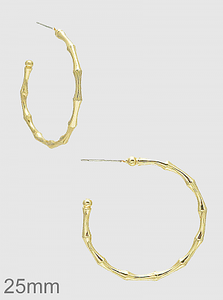 Gold Twig Bamboo Round Hoop Earrings