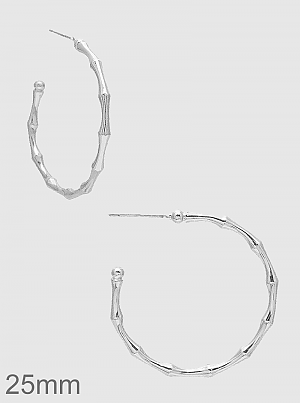 Silver Twig Bamboo Round Hoop Earrings