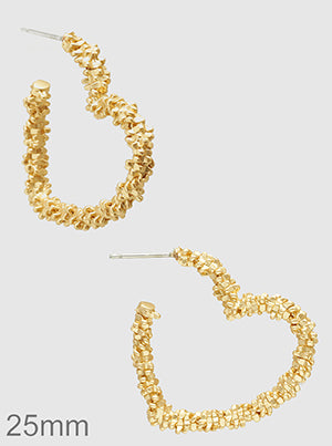 Gold Metal Heart Love Open Hoop Earrings