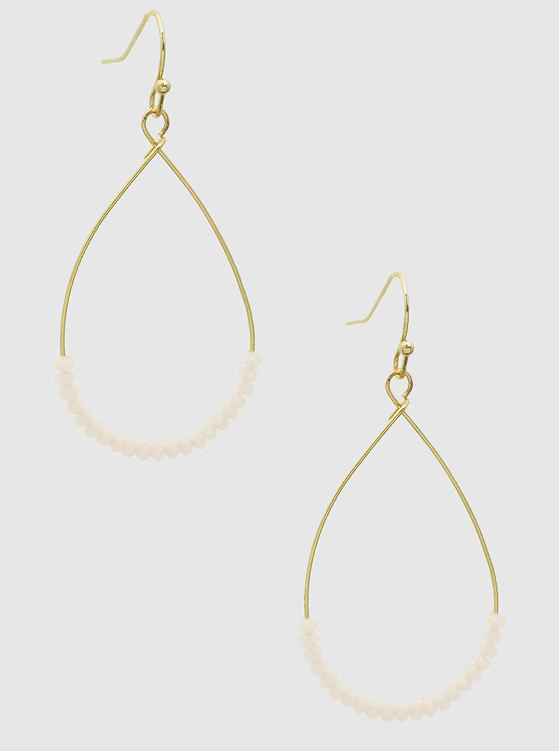 White Bead Teardrop Earrings