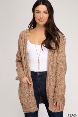 Multi Color Open Front Cardigan Peach