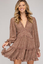 Long Sleeve V Neck Printed Tiered Dress