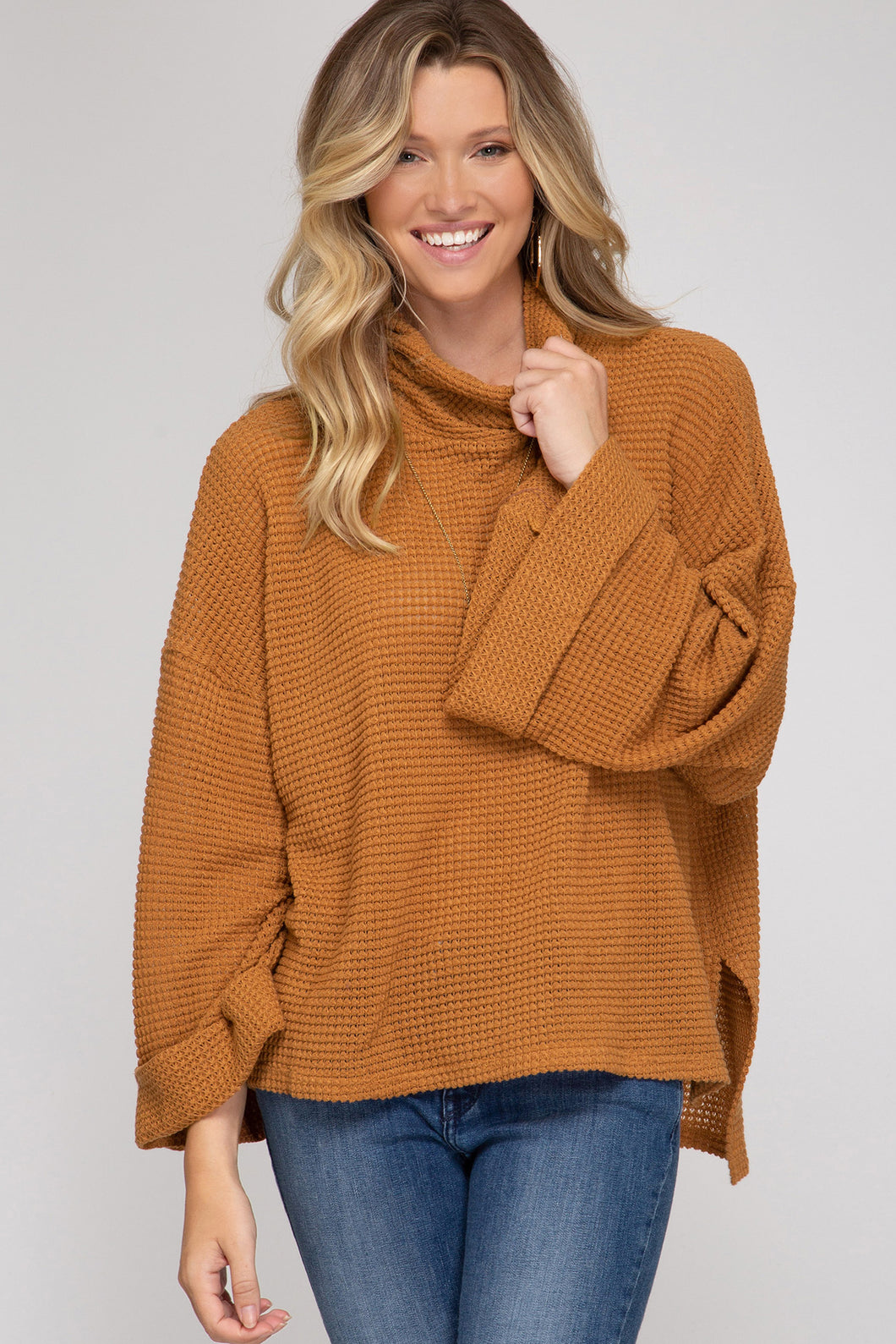 Caramel Cuff Sleeve Turtleneck Thermal Top