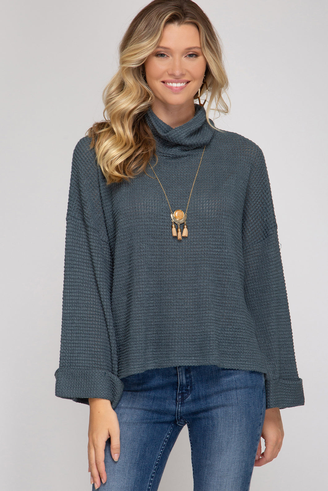 Slate Cuff Sleeve Turtleneck Thermal Top