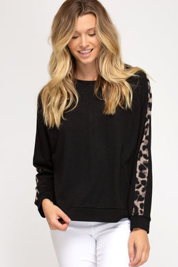Black Long Sleeve French Terry Knit Top with Leopard Print Contrast Detail