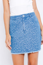 Load image into Gallery viewer, Leopard Contrast Denim Mini Skirt