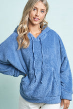Load image into Gallery viewer, Navy Blue Soft Sherpa Shearling Hoodie Top