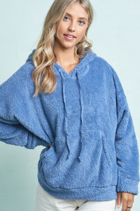 Navy Blue Soft Sherpa Shearling Hoodie Top