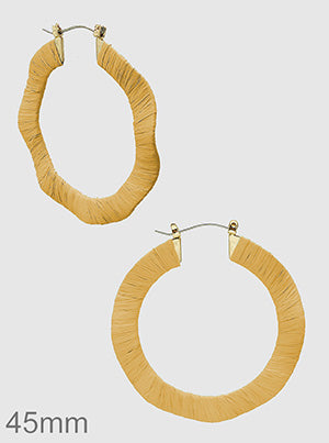 Mustard Raffia Wrapped Color Irregular Hoop Earrings