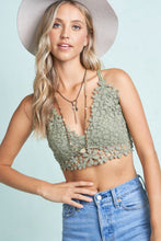Load image into Gallery viewer, Sage Floral Crochet Bralette Top