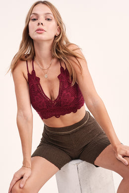 Berry Crochet Lace Bralette with Bra pads