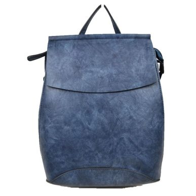 Navy Blue Vegan Leather Backpack