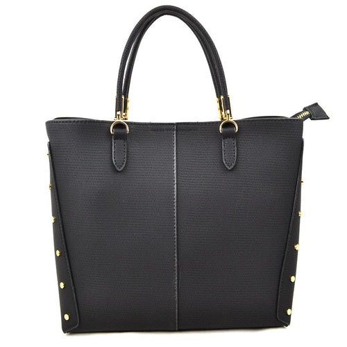 Elaina Studded Metal Handbag in Black