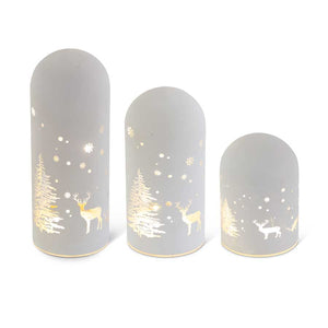 Set of 3 Matte White LED Glass Domes W/Deer and Trees (Grad Sizes)