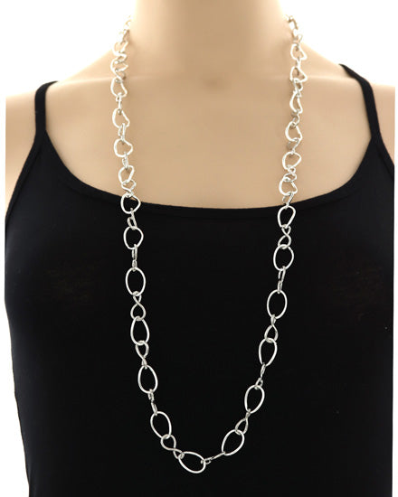 Silver Chain Link Long Necklace