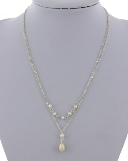 Multi Strap Pearl Necklace (Gold or Silver)