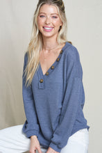 Load image into Gallery viewer, Indigo Button V Neck Waffle Knit Top