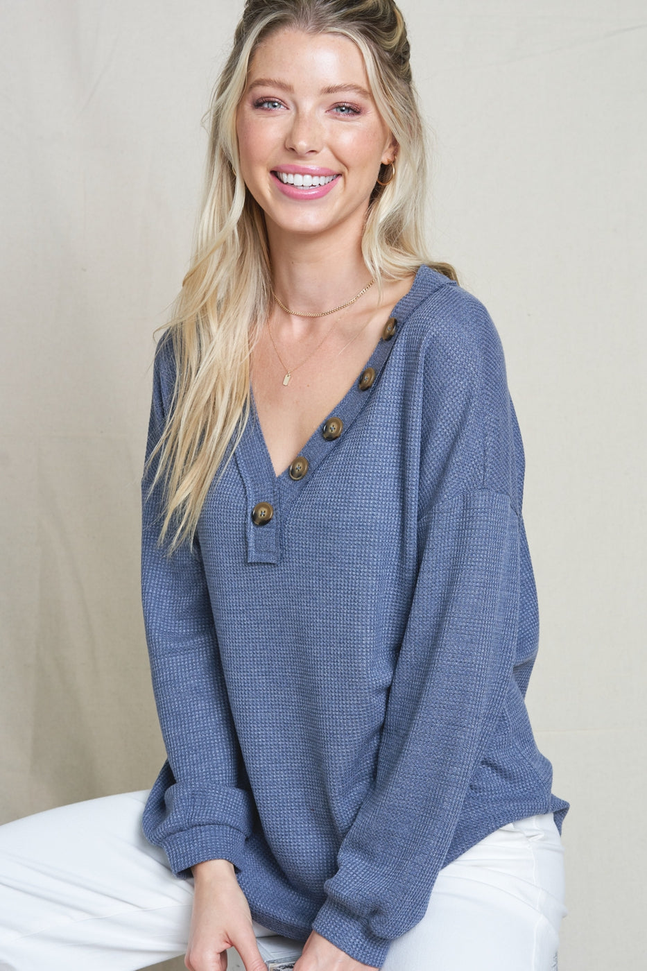 Indigo Button V Neck Waffle Knit Top