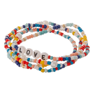 Multicolor Worded Seed Beaded Bracelets