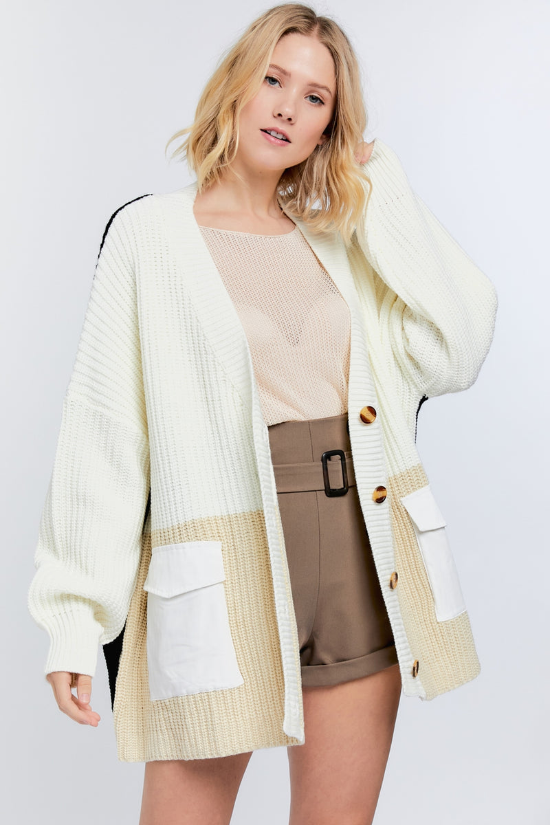 Color Block Button Down Loose Cardigan