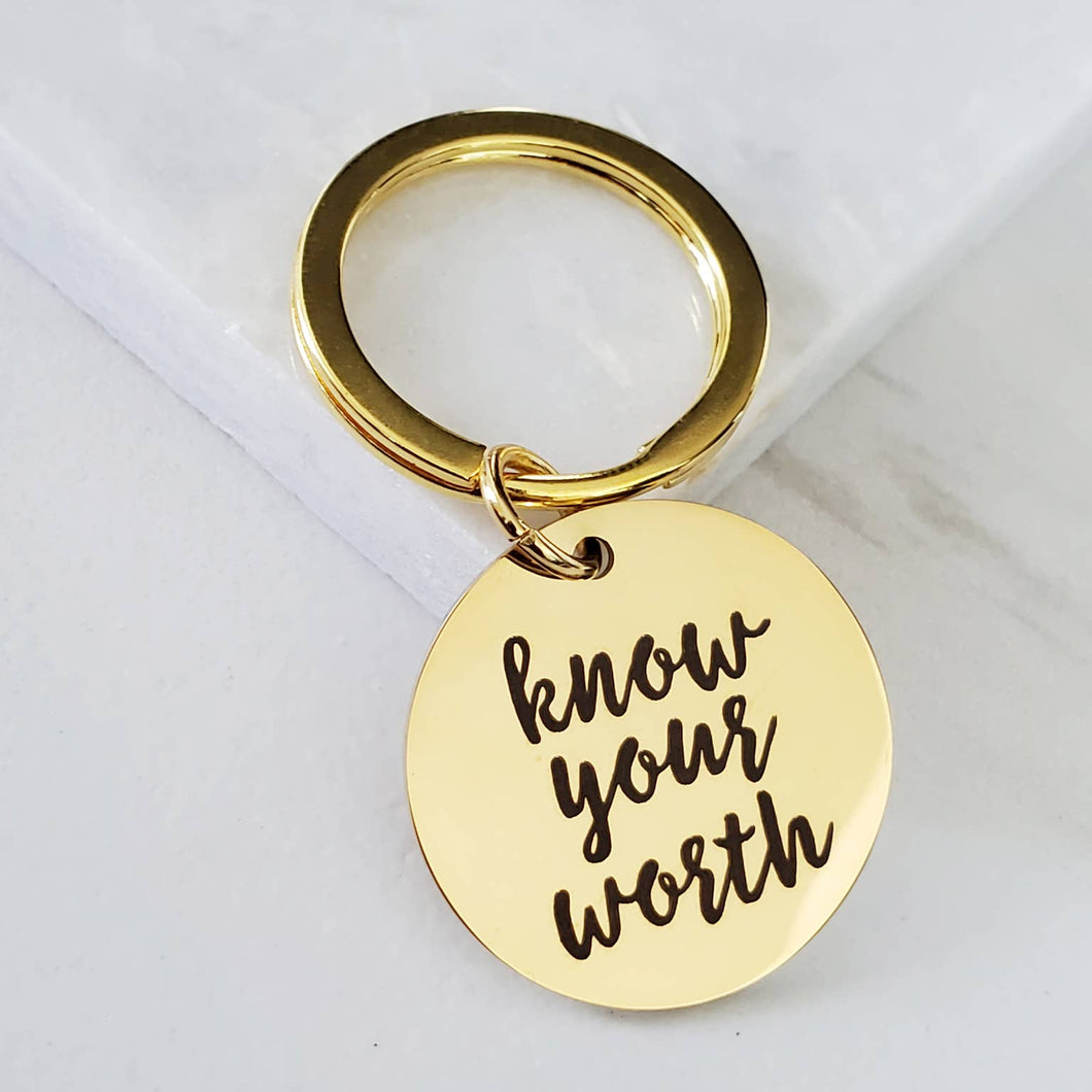 Know Your Worth Inspirational Mantra Gold Key Fob