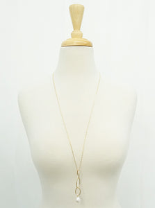 Link Chain Pendant Necklace With Pearl