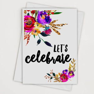 Let's Celebrate Floral Art Card