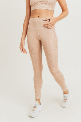 Peach Leopard Foil Print High Waisted Legging