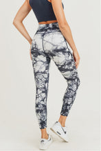 Load image into Gallery viewer, Dark Navy Ribbed Tie-Dyed Side Panel Highwaist Seamless Leggings
