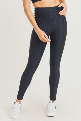 Black Textured Sectional Ribbed Jacquard TACTEL® Highwaist Leggings