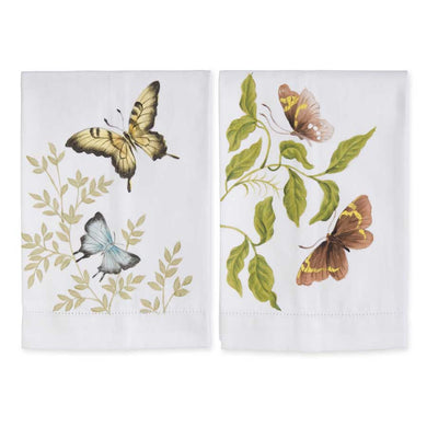 Butterfly Handpainted Cotton Guest Towels Set of 2