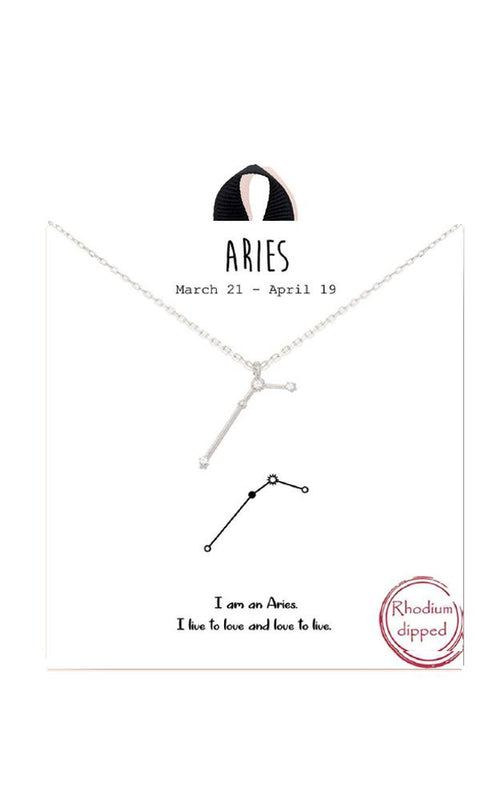 Rhodium Zodiac Constellation Necklace