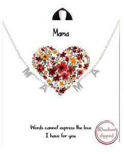 "Rhodium ""Ma-Ma"" Mama Station Pendant Necklace"
