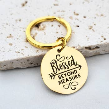 Blessed Beyond Measure Religious Gold Key Fob