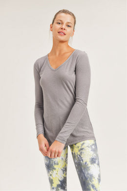 Light Grey Long Sleeve V-Neck