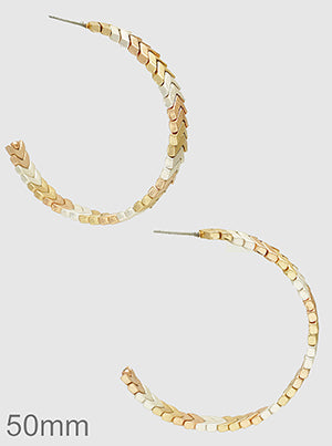 Chevron V Shape Open Hoop Earrings