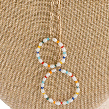 Load image into Gallery viewer, Double Drop Pearl Multicolor Pendant Necklace
