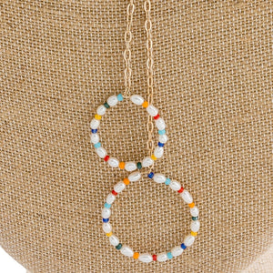 Double Drop Pearl Multicolor Pendant Necklace