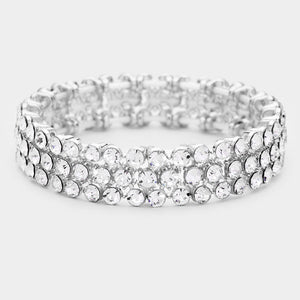 Silver Rhinestone Statement Stretch Evening Bracelet