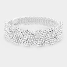 Load image into Gallery viewer, Silver Rhinestones Cuff Bracelet