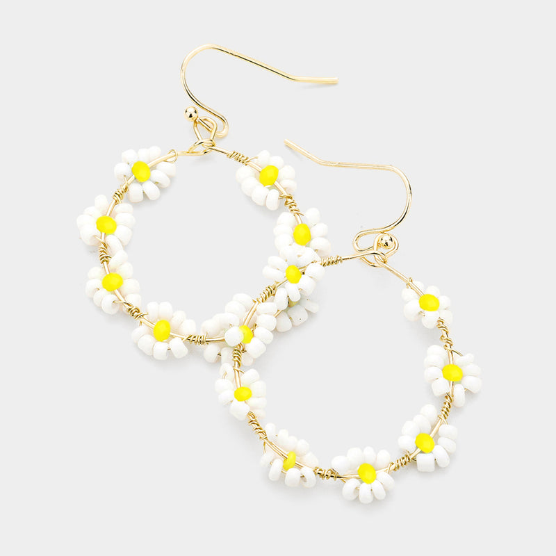 White Yellow Wire Wrapped Seed Beaded Flower Cluster Dangle Earrings