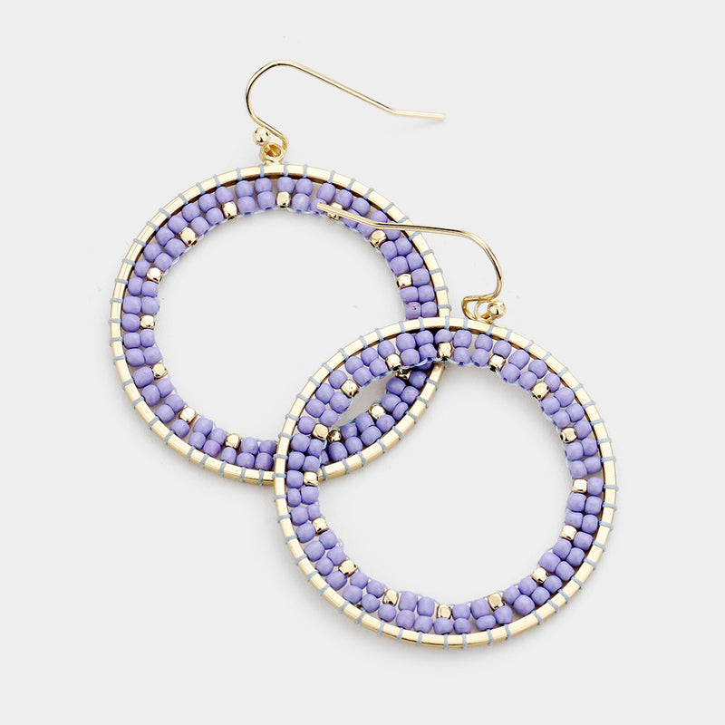 Lavender Wire Wrapped Bead Open Metal Circle Dangle Earrings