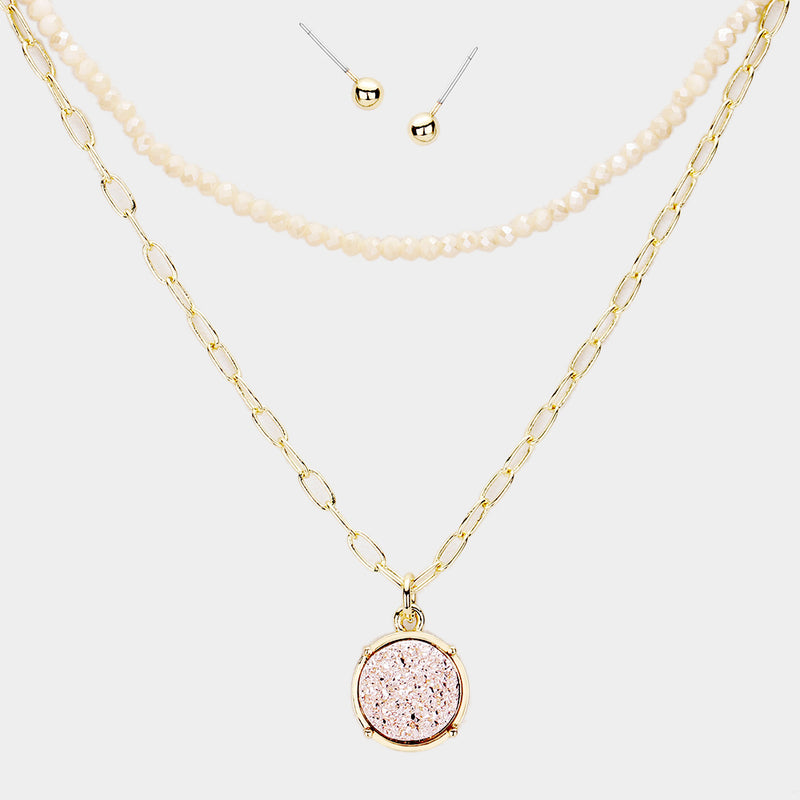 Rose Gold Druzy Round Pendant Double Layered Necklace